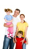 Cheerful family. Portrait of happy family isolated on a white background royalty free stock image
