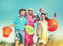 Cheerful Family Bonding by the Beach Holiday Concept Royalty Free Stock Image