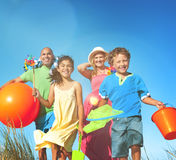 Cheerful Family Bonding Beach Togetherness Joyful Concept Royalty Free Stock Photography