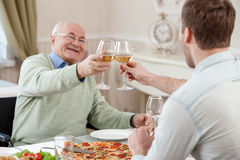 Cheerful family is celebrating with alcohol drink Stock Photos