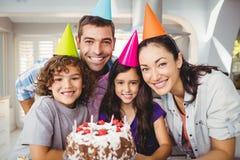 Cheerful family celebrating birthday Stock Images