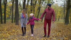 Cheerful family with girl walking in autumn park stock video footage