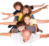 Cheerful family having fun in the studio Royalty Free Stock Photos