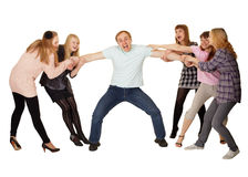 Cheerful family having fun on white Royalty Free Stock Photography