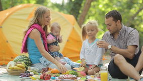 Cheerful family having picnic with fruits. Drinking orange juice and laughing
