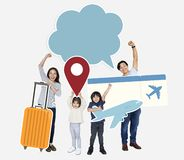 Cheerful family holding travel icons and ticket royalty free stock photos