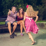 Cheerful Family In The Park Stock Photography