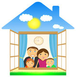 Cheerful family in private house. Big cheerful family in private eco house Royalty Free Stock Photos