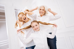 Cheerful family resting together Stock Photos