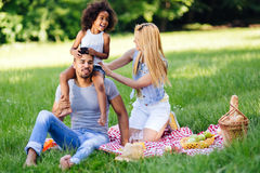 Cheerful family spending time together Stock Image