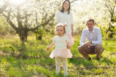 Cheerful family walks in the park with the rays of the sun. Springtime mood blooming gardens royalty free stock photos
