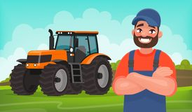 Cheerful farmer on the background of a field and a tractor. Agricultural work. Vector illustration. In cartoon style Royalty Free Stock Photo