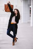 Cheerful fashion woman. Street style Royalty Free Stock Image