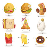 Cheerful fast food cartoon characters with human face expressions vector flat icons Royalty Free Stock Photo