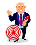 Cheerful fat business man cartoon character. Cheerful fat business man. Businessman cartoon character holds documents and stands near target. Vector illustration vector illustration