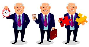 Cheerful fat business man cartoon character. Cheerful fat business man, set of three poses. Businessman cartoon character holds alarm clock, holds coffee and vector illustration