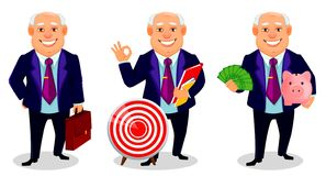 Cheerful fat business man cartoon character. Cheerful fat business man, set of three poses. Businessman cartoon character holds briefcase, holds documents and stock illustration