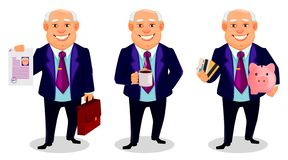 Cheerful fat business man cartoon character. Cheerful fat business man, set of three poses. Businessman cartoon character holds document and briefcase, holds stock illustration