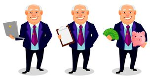 Cheerful fat business man cartoon character. Cheerful fat business man, set of three poses. Businessman cartoon character holds laptop, holds clipboard and holds royalty free illustration