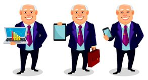 Cheerful fat business man cartoon character. Cheerful fat business man, set of three poses. Businessman cartoon character holds laptop, holds tablet and holds royalty free illustration