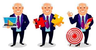 Cheerful fat business man cartoon character. Cheerful fat business man, set of three poses. Businessman cartoon character holds laptop, holds two pieces of stock illustration