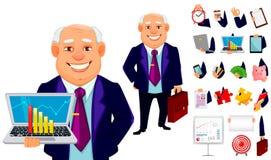 Cheerful fat business man cartoon character. Cheerful fat business man, set of body parts and various things. Businessman cartoon character. Build your personal stock illustration