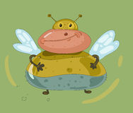 Cheerful fat fly. Comic illustration with cheerful fat fly on green background Stock Photos