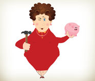 Cheerful fat lady holding a piggy bank and hammer Stock Photo