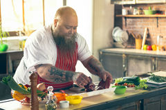 Cheerful fat man enjoying cooking at home Stock Images