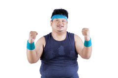 Cheerful fat man after workout Royalty Free Stock Photography