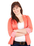 Cheerful fat young woman with folded arms Stock Photo