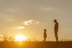 Cheerful father and son playing together on meadow Royalty Free Stock Image