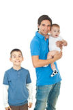 Cheerful father with two boys Stock Photos