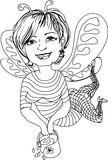 Cheerful female bee. Portrait of a  woman, treated in Illustrator. Caricature active women for fun-filled family holiday Stock Images
