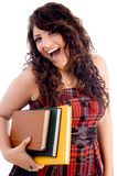Cheerful female with books Stock Images