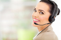 Telemarketer with headset stock image
