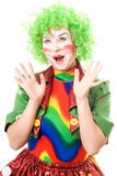 Cheerful female clown. Isolated on white background Stock Photography