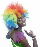 Cheerful Female Clown. Happy Female Clown Smiling at Camera Royalty Free Stock Photos