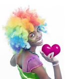 Cheerful Female Clown Love Stock Photography
