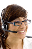 Cheerful female customer care executive Stock Photography