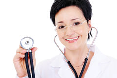 Cheerful female doctor with stethoscope Stock Photo