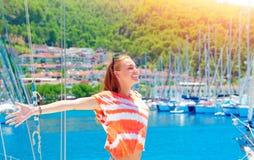 Cheerful female enjoying summer holidays Royalty Free Stock Image