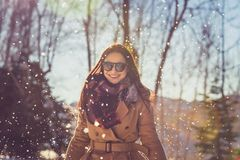 Cheerful female enjoying winter royalty free stock photos