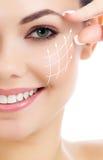 Cheerful female with fresh clear skin. White background stock photo
