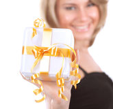 Cheerful female with gift box Royalty Free Stock Photos