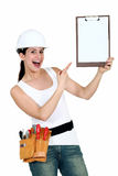 Cheerful female laborer Stock Images
