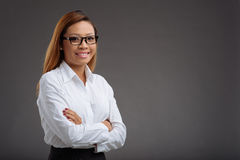 Cheerful female manager stock photo