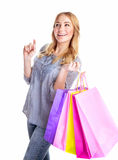 Cheerful female with paper bags Royalty Free Stock Image