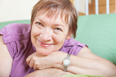Cheerful female pensioner Stock Images