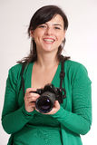 Cheerful Female photographer Stock Images